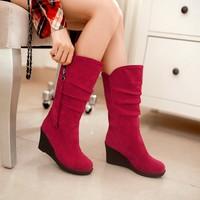 2014 winter women fashion boots suede round-fold  size 34 ~ 43