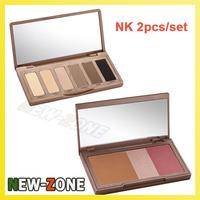 Hot Popular Naked Palette Combined 2pcs/lot Makeup Bronze Flushed 3colors Blusher + Basics 6color Shadow palette Free Shipping