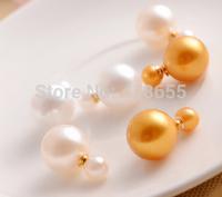 Freeshioping ( Min.Order Is $5 )18K gold plate earring Luxury modern brand letter stud earrings for women 0039