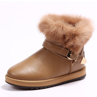 Hot 2014 Leather Winter Boots Rabbit Fur Women Button Waterproof SnowBoots Cow Muscle Warm Snow Shoes Size 35-40