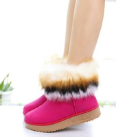 Fur Boots Free Shipping 2014 Hot-Selling Winter faux fur shoes women's boots brand High snow boots women ankle boots