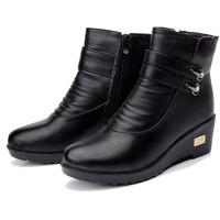 2014 winter woman mom cotton boots rhinestone double buckle waterproof    non-slip Genuine Leather  size 35 ~ 41