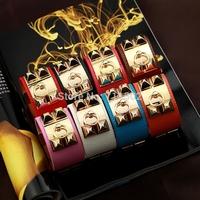 Free Shipping H brand designer bracelet Punk rivet Studs Pyramid Leather bracelet Wristband Charm Bangles H Bracelet