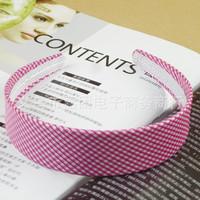 Checked Girls Women Plastic  Headband Chiffon  Hair Band 2.3cm