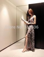2014 Promotional new bohemian halter chiffon skirt mopping the seaside resort beach dress 8609 free to send