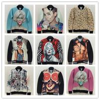 (Alice)free shipping 2014 New Fashion Men/Women Sexy Marilyn Monroe blowing bubbles Printing 3D baseball Hoodies ,21 models