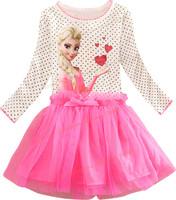 2015 new girls dress, ELSA & ANNA princess long sleeve dress,100% cotton dress, girl print dress, girl party dress.baby dresses