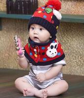 free shipping! hot children hat 100% wool hat+scarf two piece set Panda cap/ Autumn winter children's