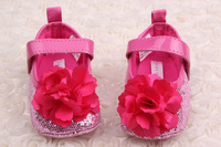 Retail!Baby Girl First Walkers Very Cute Baby Rose Sequined Shoes, Velcro Shoes Soft Bottom Baby Princess Toddler Shoes N-0133