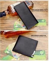 HOT SALE 2014 popular Genuine leather wallet black purse men wallets for men card holder free shipping retail