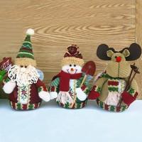 Santa Claus Snowman Reindeer Cartoon Ornament Christmas Gift New 2014 Christmas Decoration Suppliers Lovely Multi Color Figurine