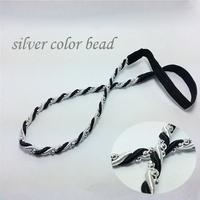 12pcs classic  fashion silver beaded Elastic headband black and white braid hair accessories for women