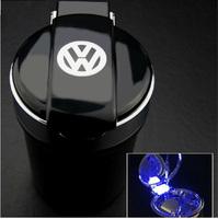 Car styling Portable auto interior decoration LED Light Smokeless Ashtray Cigarette Holder for Volkswagen polo passat b5 golf 4