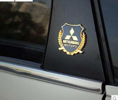 car styling Mitsubishi LANCER LANCER-EX ASX Outlander metal logo sticker modified standard column car accessories(China (Mainland))