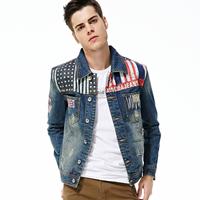 2014 Autumn men's clothing denim jacket outerwear fashion slim denim jacket male outerwear male denim top