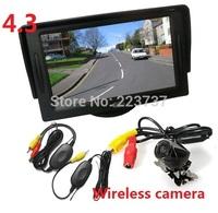 "New  Wireless Reverse Reversing CCD Camera + 4.3"" LCD Monitor Car Rear View Kit Free Shipping"