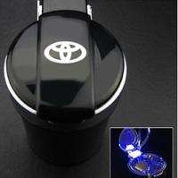 Car styling Portable auto interior decoration LED Light Smokeless Ashtray Cigarette Holder for toyota corolla camry rav4 Fit