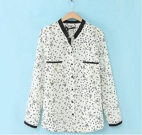 body new 2014 Fall New Star cardigan chiffon blouse shirt big yards long sleeve V-neck casual print casual sheer clothe  top