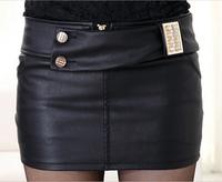 2014 Vogue Women Short Skirts Korean Style Elegant Button Decoration Solid Color All Match Slim Female Mini Woolen Skirts