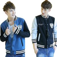 2014 Autumn plus size plus size jacket male slim casual outerwear male sports baseball uniform lovers top