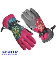 Crane CRANE female high-end brand waterproof ski gloves, sheepskin gloves palm Cold durable longer section