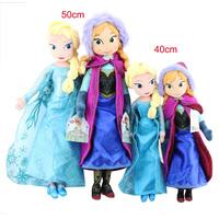 Boneca Frozen Doll Plush Princesas elsa  anna dolls original 50Cm Stuffed ariel Plush toys kids for Children Birthday/Xmas Gift