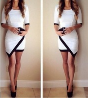 S-XL New fashion autumn women's Black and white hit color  irregular stitching package hip sleeve dress  #WH012
