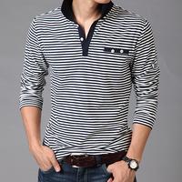 men fashion  autumn stripe long-sleeve T-shirt men's clothing slim turn-down collar fashion stripe long-sleeve male t-shirt