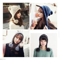 High Quality  Lovely Women Ladies Girls Warm Knitting Knit Bonnet Balls Winter Hat Knitted Beanie Hats Cap