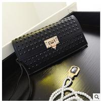 Fashion Designer Leather Bag Rivet Wallet Woman Wallet Zipper&Hasp Clutch Purse Shoulder Handbags High Quality Carteira Feminina