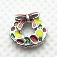 20pcs/lot Free Shipping Diy Fashion Alloy Enamel Christmas Wreath Floating Charm For Origami Owl Memory Living Locket