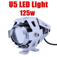 New 2014 External waterproof Silver Motorcycle motocross offroad car headlight 12V 125W CREE U5 LED fog lamp Laser Light