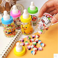 Free shipping 100PCS//4set/lot 2014 School supplies office supplies stationery cute cartoon  eraser set with Nursing bottle