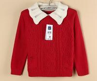 2014 hot spring&fall sweater girls lapel collar sweater long sleeves knitting sweater korean style tops Lb2173