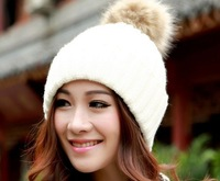 New Fashion 2014 Korean Cute Warm Thickening  Pure Canopies Knitted Hats Women/ Lady Hats For Gifts  4 Colors Selection