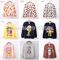 2014 Newest Style Cartoon image Round Collar Pullovers Cotton Women  Hoodies Winter Warm Fleece Loose Large Size Sweatshirts