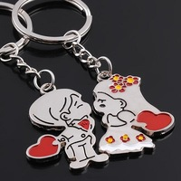 1pair Red Heart Boy Girls Sweet Wedding Birthday Gifts Couple Keychain Keyring Keyfob