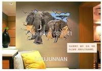 70*100 Free Shipping 1Pcs Elephant sticker 3D Elephant Wall Decal Animal Vinyl Kids Room Decoration Removable PVC Wall Sticker
