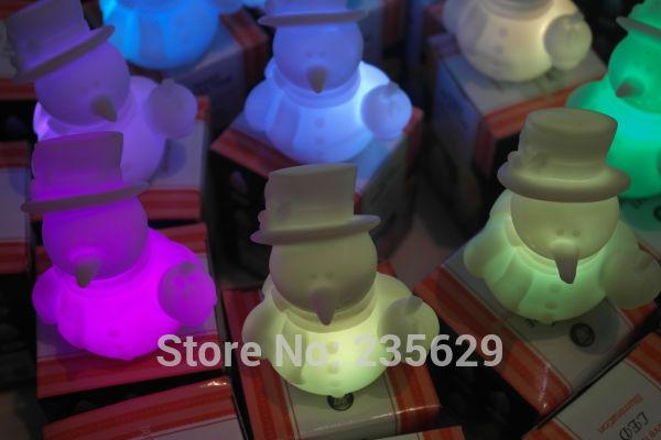 Free Shipping Decoration Ornaments,Snowman nightlight, Colorful Led Snowman, Colorful led snowman nightlight,Christmas gifts(China (Mainland))
