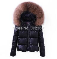 91% White Duck Down Parkas PU Leather Winter Jacket Women's Real Faccoon Down Coat Super huge Big Fur Collars Women Down Jacket