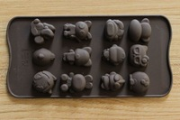 21.2*10.5cm 3D chocolate mould cake mould in 12 qute designs cake decoration tool