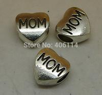 30pcs Antique Silver  Love Mom Beads 11x11mm For Charm Bracelet DIY A8212