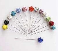 scarf stick pin  Hijab pins crystal scarf pin shiny crystal full ball shaped fixed safety pin mixed colors 12pc/lot free ship