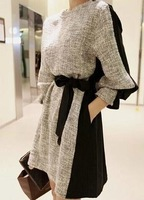 Free shipping/Standing on the new European women's clothing han edition show thin dress long sleeve splice