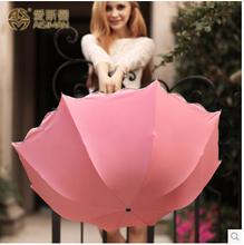 High Quality Brand 3-Fold Clear Princess Umbrellas Rain Women Pink Blue Horse Katana Sunshade Parasol Anti-UV Paraguas Repellent(China (Mainland))