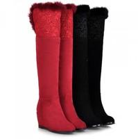Noble Ladies Winter Snow Boots Women's Boots Genuine Leather Wedge High Heels 2014 NEW Over The Knee Wedge Botas Femininas