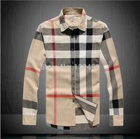 Free Shipping Men's Shirt Plaid Brand Checker Men Clothing Long Sleeve 2014 Top Quality Big Size Cotton Dress Shirt On Sale