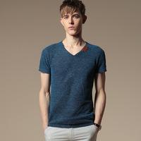 New Fashion Mens Casual Slim Tee Tops Fit V-Neck Short Sleeves T-Shirts M-6XL