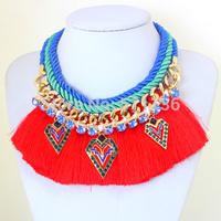 2014 New Boho Style Statement Jewelry Tassel Silk Multilayer Gold Chain Geometric Pendant BIB Necklaces KK-SC699