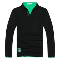 New Men's Stylish Brand Cotton Solid Color T-Shirt Long Sleeve  Clothes Shirt
